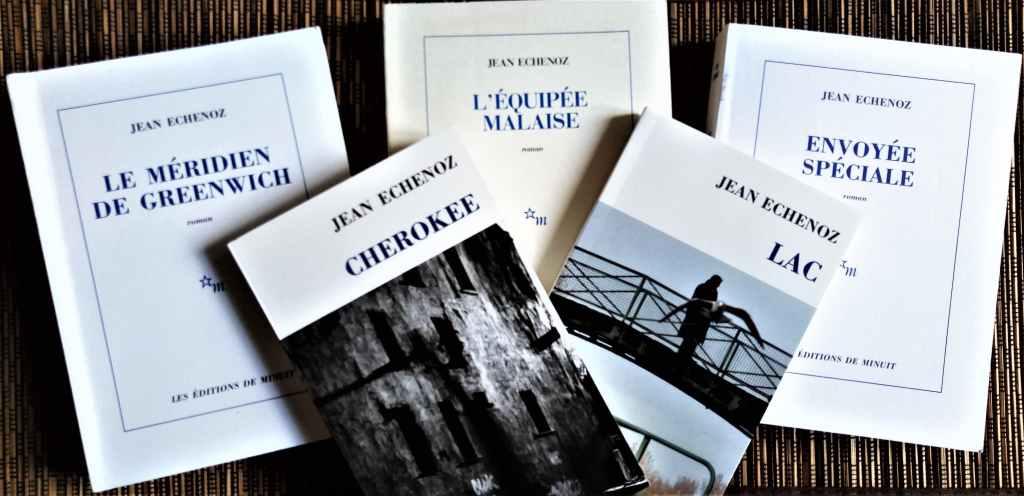 livres de Jean Echenoz éditions de minuit : le méridien de Greenwich, Cherokee, Lac, Envoyée spéciale, L'équipée malaise