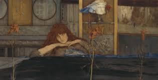 tableau de fernand khnopff, présenté à l'exposition du petit palais à paris, intitulé 'I lock the door upon myself', peint en 1891