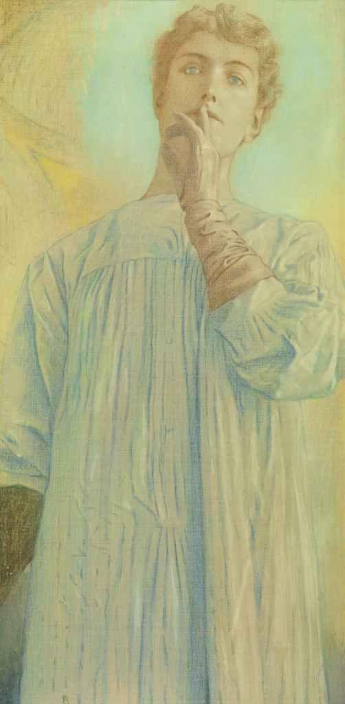 tableau de fernand khnopff, présenté à l'exposition du petit palais à paris, intitulé 'du silence', peint en 1890