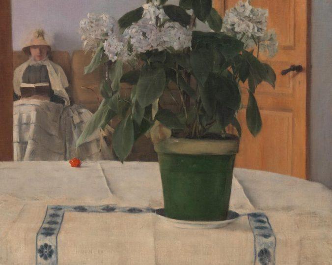 tableau de Fernand Khnopff exposé au Petit Palais, intitulé 'un hortensia', peint en 1884