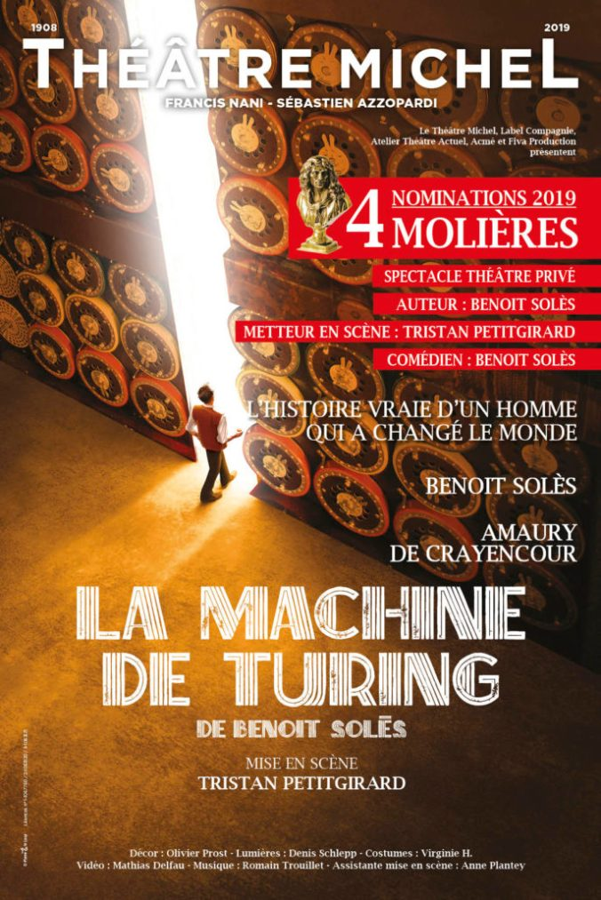 affiche du spectacle La Machine de Turing, au Théâtre Michel, avec 4 nominations pour les Molière 2019