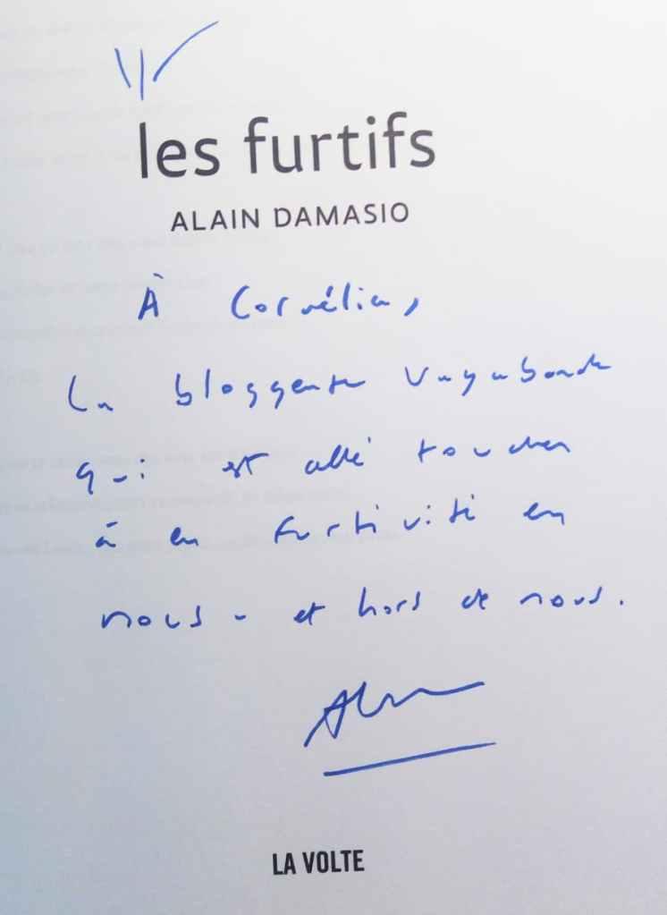 dédicace d'Alain Damasio à Cornelia, pour le livre 'les furtifs'