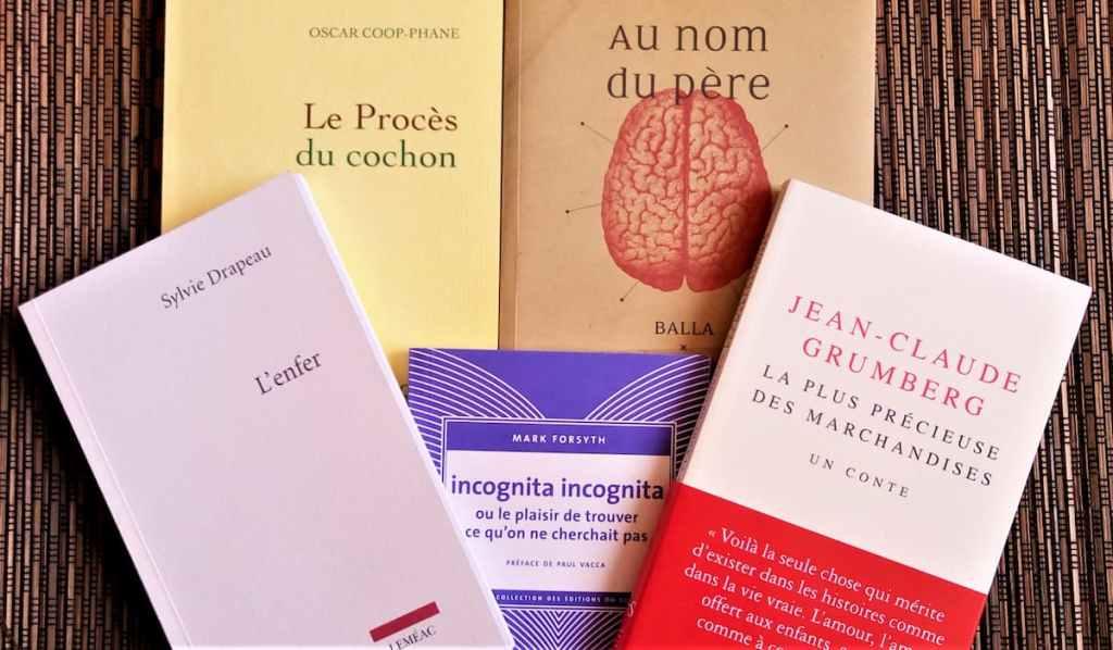 couvertures des livres : incognita incognita, l'enfer, la plus précieuse des marchandises, le procès du cochon, au nom du père