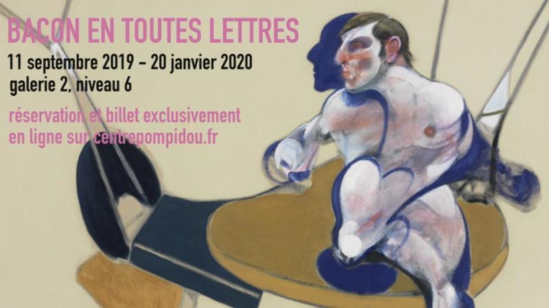 affiche de l'expo Bacon en toutes lettres au centre pompidou